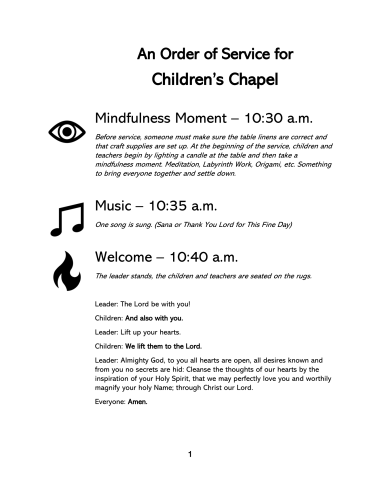 Order for Childrens Chapel-1